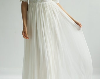 One of a Kind Lace and Silk Modest Wedding Dress--Sample SALE