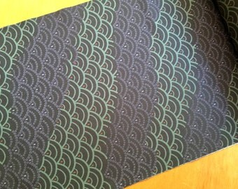 Vintage Japanese Kimono Fabric - Japanese  Waves - Green Purple Dark Gray  14.5 inches x 1 Yard  (37cm x 1 M)