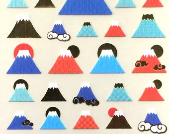 Mount Fuji Stickers - Japanese Chiyogami Stickers - Mountain Stickers -  S218