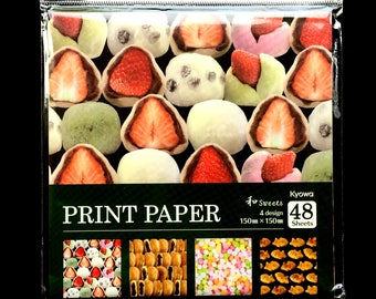 Japanese  Paper - Origami Paper - Japanese Food Paper - Traditional Sweets - Wagashi - 4 Patterns 48 Sheets 15 x 15 cm