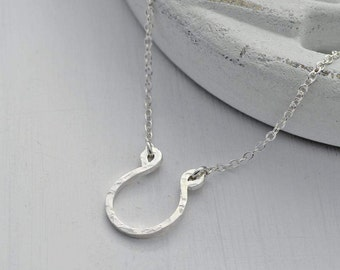 Silver Horseshoe Necklace -  Hammered Horseshoe Necklace - Lucky Horseshoe Necklace