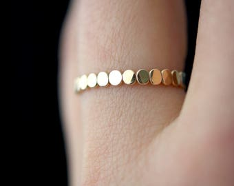 Gold Bead Stack ring, One Single Gold Fill stacking ring, stackable rings, thick gold ring, gold ring, thick gold band, textured ring