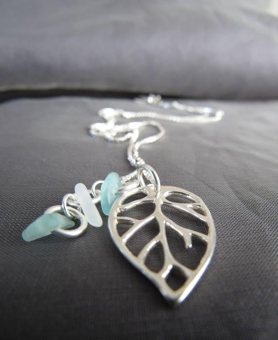 Little Leaf sea glass necklace