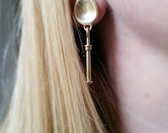 Amulet Series Post and Pebble Drop Stud Earrings. Gold Statement Earrings. Sterling Silver Statement Earrings.