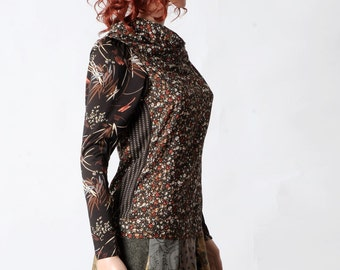 Brown floral top, Womens brown supple top with wide collar, Jersey sleeves, Womens clothing, Womens tops, MALAM, size UK 8