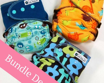 Surprise-Me Bundle of 3 Wind Pro AI2 Cloth Diapers - Pack of Three Made to Order Windpro Diapers Nappies - Save Money - Discount - Savings