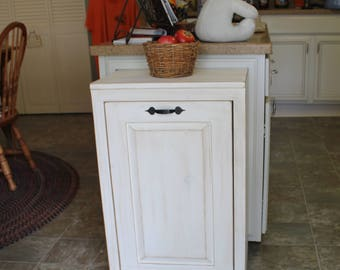Wooden Tilt out Trash Can - Trash Bin - Wood Trash Box - Cabinet to hide Trash - Kitchen Garbage - Tip out trash can - Kitchen Laundry Room