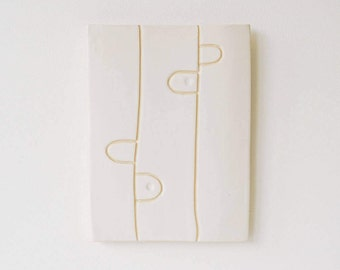 Art Tile Ceramic Sculpture Wall Hanging Abstract tribal wall art White Modern by Tina Schowalter alma artisan Wisconsin one of a kind artist
