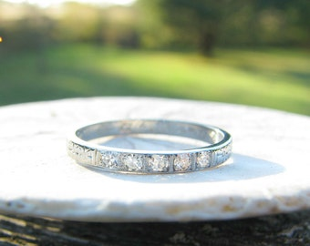 RESERVED, Art Deco Diamond Wedding Band, Sparkly Diamonds, Stylized Flowers in 18K White Gold, 1920's Wedding Ring, Engraved 1929