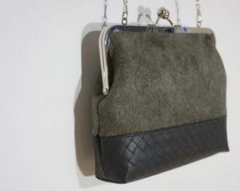 Charlie clutch (grey faux suede & basket-weave faux leather)