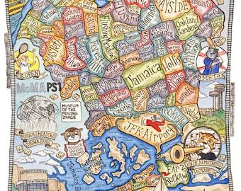 """Queens New York  Map Art Print 11"""" x 14"""""""