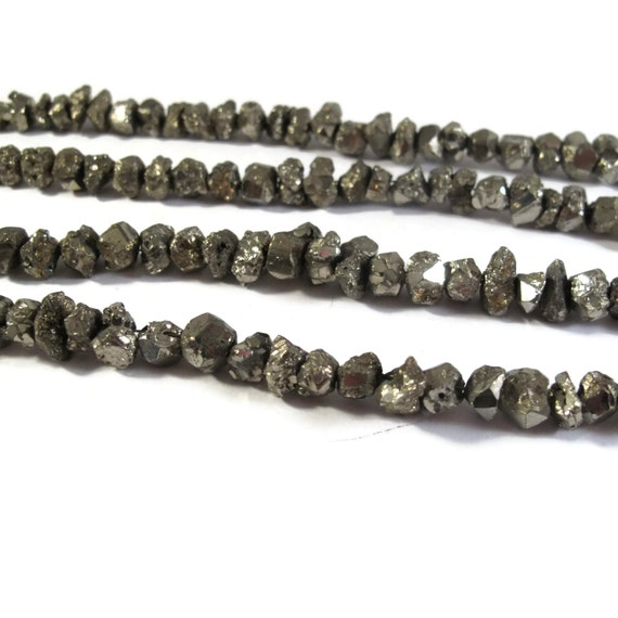 Pyrite Nugget Beads, 8 Inch Strand, 6mm - 8mm Natural Gemstones for Making Jewelry, About 45 Rough Natural Pyrite Beads (S-Py2a)
