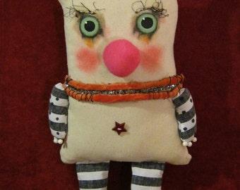 monster ooak art doll,  sandy mastroni ,creepy cute ,stripes , star button, shelf art doll, fabric sculpture , weird funny odd art doll