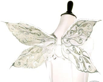 Junebug No. 9 - Small Glitter Fairy Wings in White Sparkle and Silver - Strapless Convertable