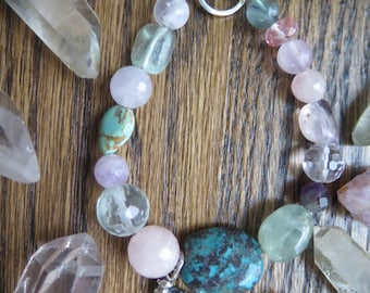 Chunky Pastel Stone Braclet - Sterling Silver - Love Dove - Turquoise Rose Quartz - Purple Pink Bird Gypsy Soul - Free Spirted Crystal Love