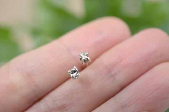Dainty pyrite stud earrings with sterling silver posts - mix and match -nickel free - boho stud earrings - multiple piercing