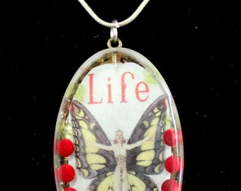 Choose Life  OOAK Hand Made Art Nouveau Pendant featuring Red Coral