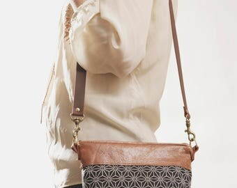 Ethnic Crossbody, Indigo Printed Leather Bag,  Boho Day Bag, Boho Makeup Bag, Ethnic Cosmetic Bag, Boho Organizer, Boho Crossbody