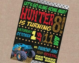 Muddin Birthday Party Invite, Boys Birthday Invite, Mud Truck Birthday Invitation, Mud Truck Invite, Mud Truck Invitation, Mudding Invite