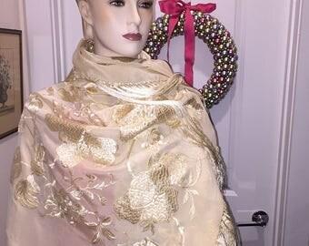 Lady's Antique Brocade Shawl