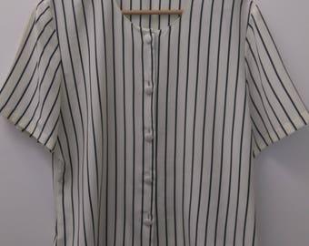 Vintage Size 14 1990s Black Cream Striped Blouse