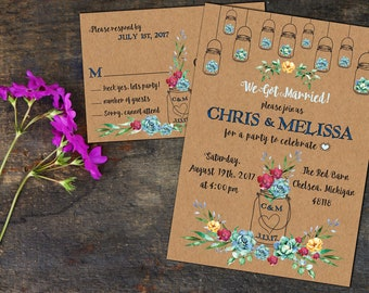 Rustic Watercolor Succulents Eloped Party Announcement, Wedding Invitations, Response Cards, Elopement Reception or Announcement