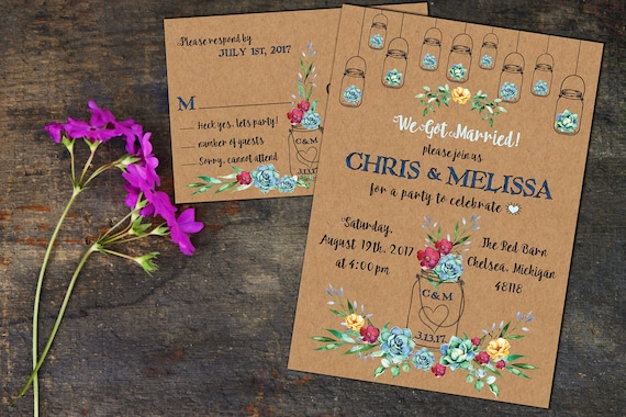 Rustic Watercolor Succulents Eloped Party Announcement, Wedding Invitations