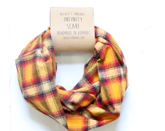 Infinity Scarf - Plaid - Flannel - Oversized - Gold, Red, Deep Blue - Warm - Winter- Cozy - Unisex - Gray