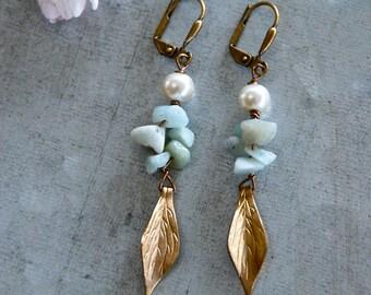 Amazonite and pearl earrings,wedding earrings,gemstone dangle earrings,mothers day gift. Tiedupmemories