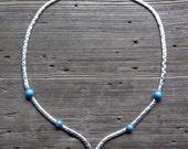 On HOLD / Choker Necklace Silver + Turquoise Boho Necklace Sarah Coventry Costume Jewelry 70s Necklace
