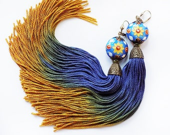 Tassel Earrings, Boho earrings, ombre tassel, yellow blue, cobalt earrings, coachella, gypsy chic, blue earrings, blue gold, long earrings