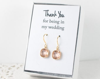 Peach Quartz Gold Earrings, Champagne Gold Square Earrings, Opal Gold Earrings, Bridesmaid Earrings, Bridesmaid Gift, Wedding Jewelry