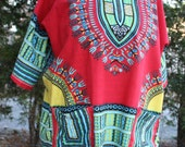 SALE was 22.00 Hippie Africa cotton pring shirt smock pullover small