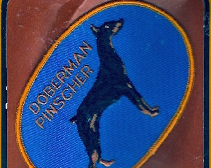 Doberman Pinscher Vintage Hagen sew on clothing patch dog pet fur baby Blue black gold Sewing Craft Supply Animal lover gift