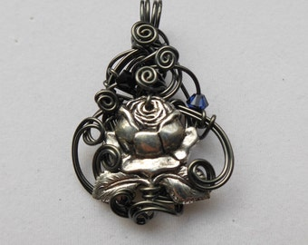 Silver Rose Pendant -- Hematite Silver Grey Wire Swirls Pendant, Blue and Black Swarovski Crystals, Silver Floral Necklace, Gothic Rose