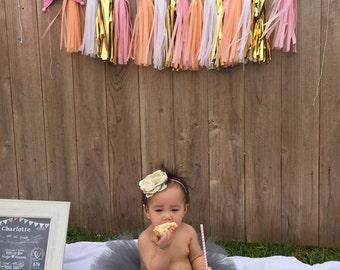Birthday Tutu, Gray Birthday Tutu, Baby 1st Birthday Tutu, Toddler First Birthday Tutu Custom Tulle Skirt, Photo Prop tutu, birthday tutu