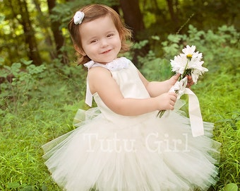 Flower Girl Tutu Dress, Girls Tutu Dresses Ivory, White