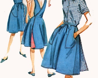 1960s Manmen Wrap Dress Wrap-A-Round Skirt, Jumper, Blouse, Shorts Butterick 21745 Vintage 60s Sewing Pattern Size 16 Bust 36 UNCUT