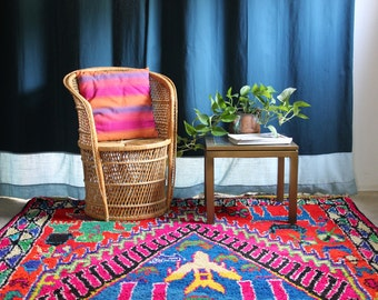 Vintage woven wicker bamboo chair - buri fan back chair - bohemian style