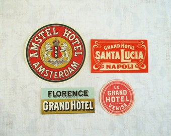 Collection of Four Vintage Luggage Labels