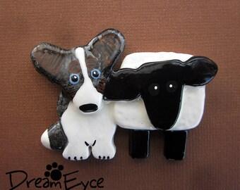 Cardigan Welsh Corgi Blue Merle with a Sheep Brooch. Artist Hand-made Dog Art Jewelry Pin. A1