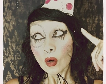 Old Time Clown Hat, Polka dot party hat, white pink leather, Carnival Clown costume, pointy dunce cap, birthday hat, halloween, mardi gras