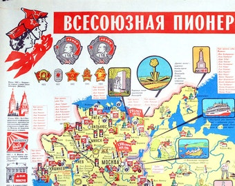 Vintage Soviet Poster, 1980s Pioneer Scouts, Russian Map, Soviet Scouting Poster, Graphic Art, Cartoon Wall Hanging, Children Summer Camp