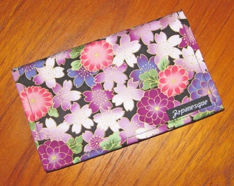 Checkbook Cover Japanese Cherry Blossoms and Chrysanthemums Purple