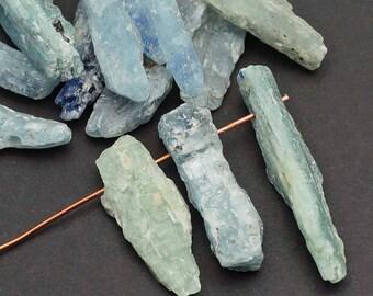 15 pcs top drilled kyanite spike beads, matte rough cut light blue, primitive style semiprecious stone