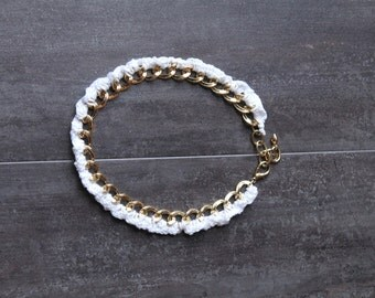 Chain and Crochet Choker Necklace in gold and white, chunky preppy statement necklace white and gold