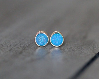 Druzy Studs , Tiny Aqua Light Blue Post Earrings , Gold , Sterling Silver , Rose Gold , Minimalist Everyday Fashion - Micros