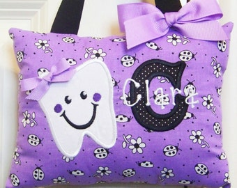Tooth Fairy Pillow Girls Tooth Fairy Pillow Personalized Tooth Fairy Pillow - Purple Ladybugs