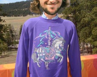 vintage 80s sweatshirt HORSE glitter carousel merry go round raglan Large Medium wtf purple 90s