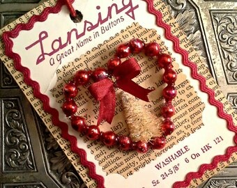 Red Valentine, Button Card, Mercury Beads, Silk Ribbon, Heart Ornament, Bottle Brush Tree, Rick Rack, Gift Tag, Lansing, OOAK